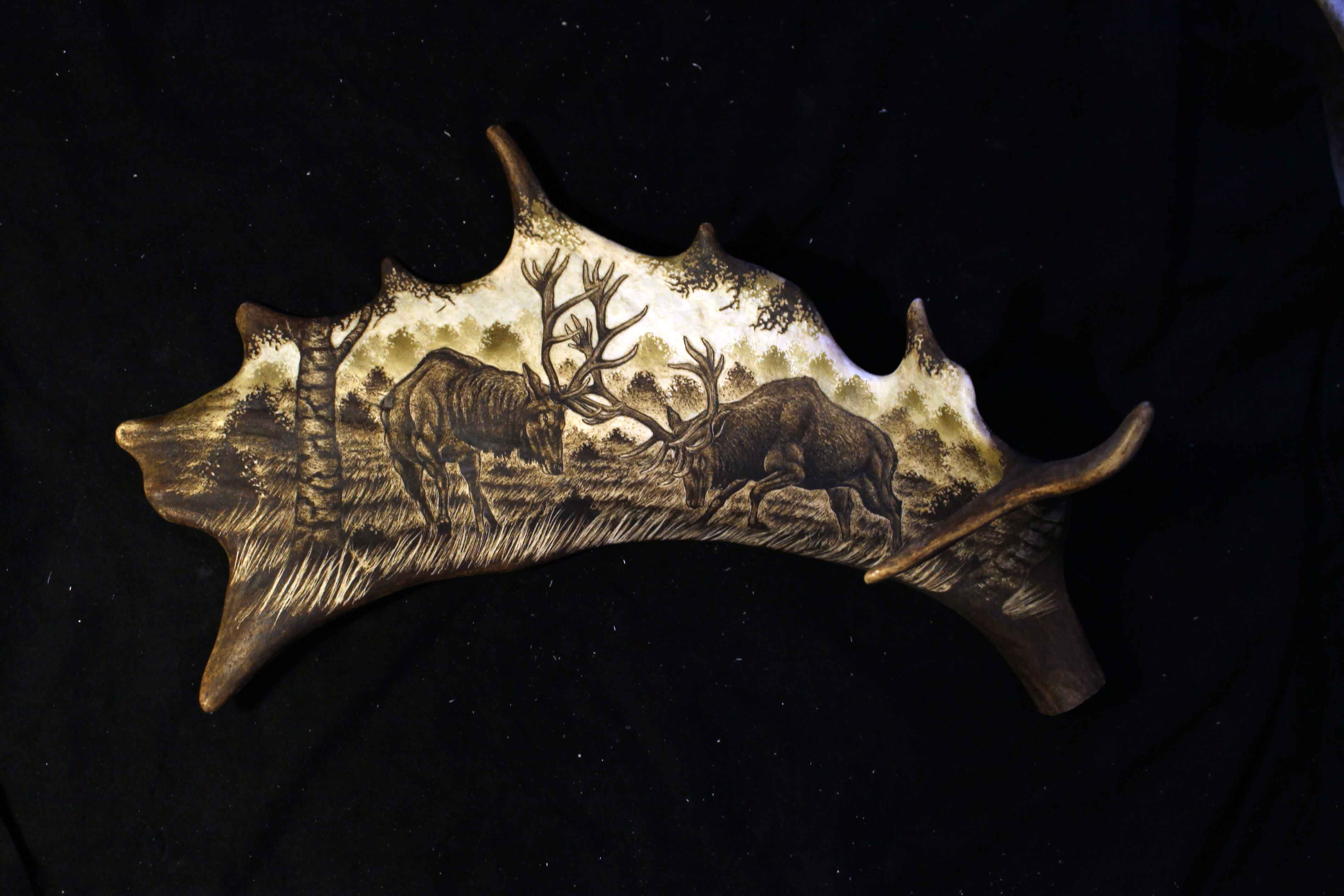 Deer Fight Antler Engraving 1