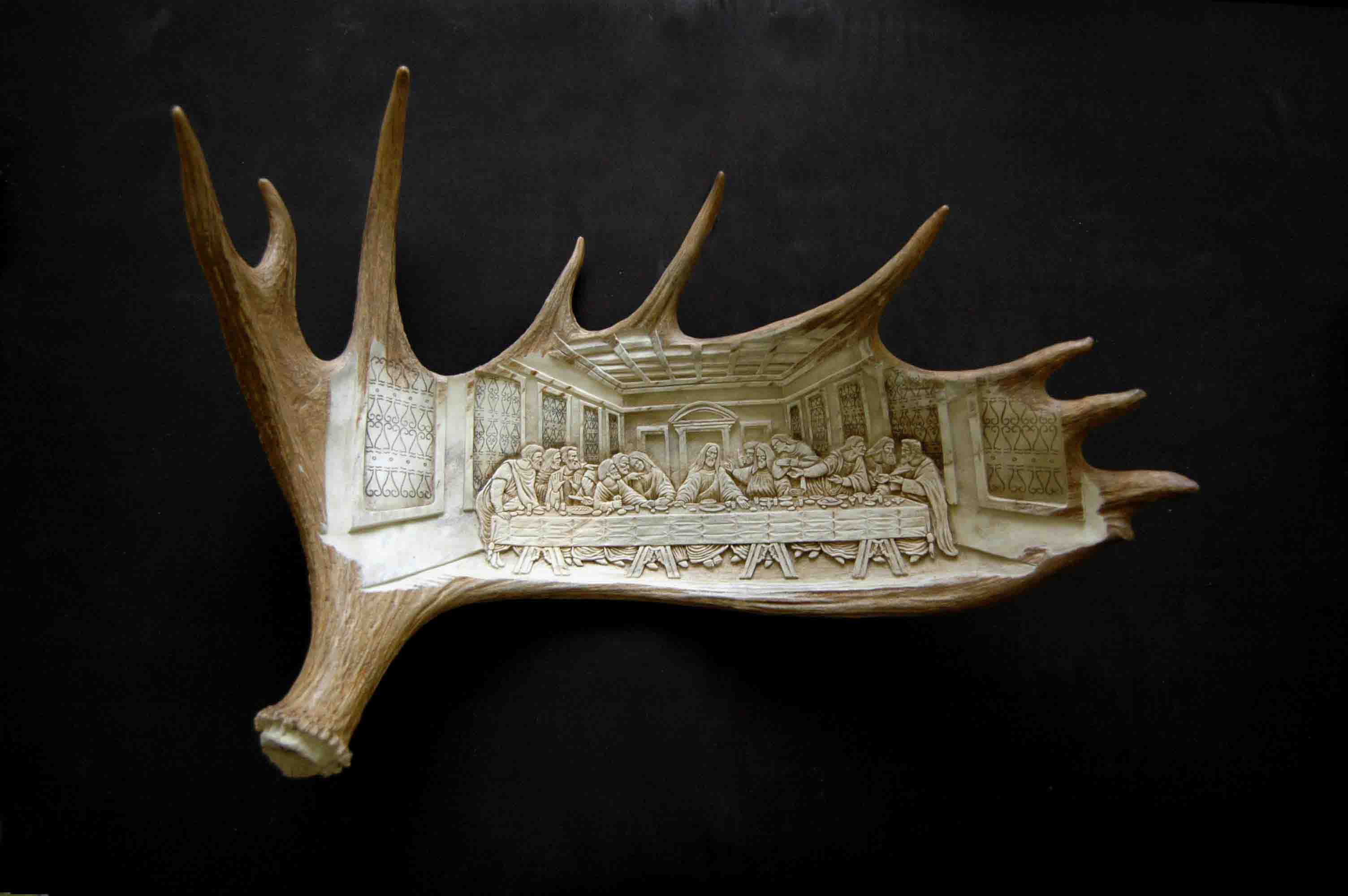 Last Supper Antler Bas Relief